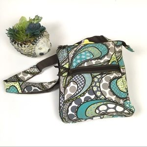 Thirty-one Crossbody Bag Paisley Turquoise/Brown